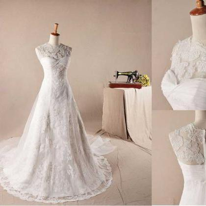 New ELEGANT RE-EMBROIDERY LACE DECORATE NECKLINE A-LINE WEDDING Wedding Dress Bridal Dress Gown Wedding Gown Bridal Gown Lace Bridal Dress