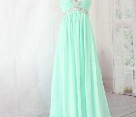 Hand-beaded beautiful pale blue chiffon sweetheart long prom dresses 2015 prom dresses 2015 bridesmaid dresses, evening dresses